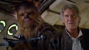 """Han Solo (Harrison Ford) and Chewie (Peter Mayhew) in """"The Force Awakens"""""""