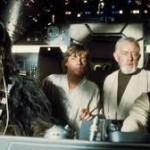 "Chewie, Luke, Obi-Wan, And Han Solo On The Falcon in ""Star Wars"" (1977)"